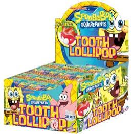 Sponge Bob Tooth Lollipop - Klubba med tänder 30st i Display