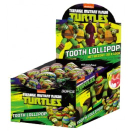Ninja Turtles Tooth Lollipop . Klubba med tänder - 30sti display