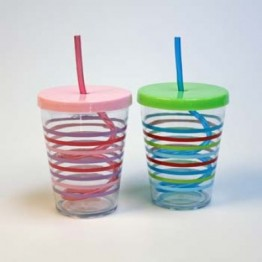 Straw Cup- Mugg i hårdplast med lock och sugrör 350ml