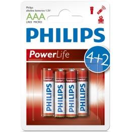 Batteri AAA Philips Power Alkaline 4+2-Pack  - MÄNGDRABATT